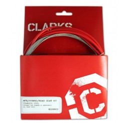 Clarks Universal Stainless Steel Gear Cable Kit - Red